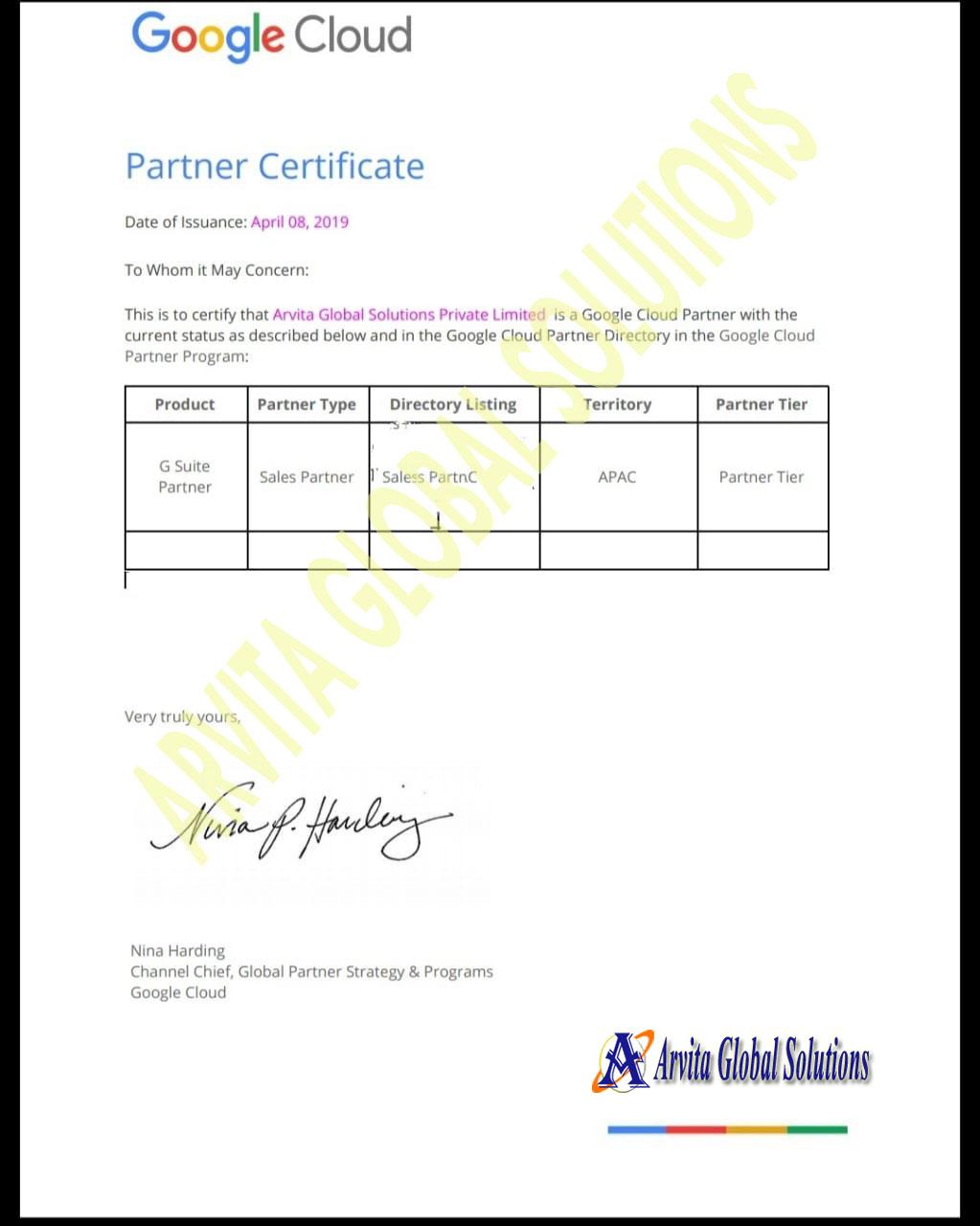ARVITA-Gsuite partner CertificateS